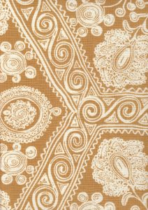 HC1910B-02 MELANIE BACKGROUND Caramel on Tint Quadrille Fabric