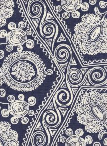 HC1910B-03 MELANIE BACKGROUND Navy on Tint Quadrille Fabric