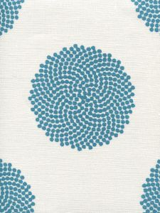 HC1350-05 MYSTERY Turquoise on Ivory Quadrille Fabric