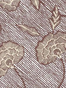 4060M-09WP FLORES II Brown Cream On White Quadrille Wallpaper