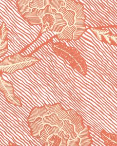 4060M-04WP FLORES II Orange Cream On White Quadrille Wallpaper