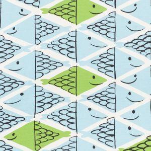 178211 FISH SCHOOL Aqua Leaf Schumacher Fabric