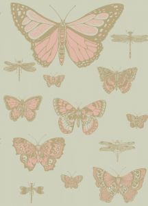 103/15063-CS BUTTERFLIES & DRAGONFLIES Pink On Olive Cole & Son Wallpaper