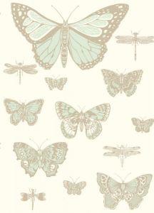 103/15065-CS BUTTERFLIES & DRAGONFLIES Duck Egg Ivory Cole & Son Wallpaper