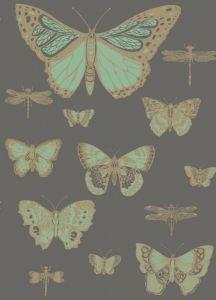 103/15067-CS BUTTERFLIES & DRAGONFLIES Green On Charcoal Cole & Son Wallpaper