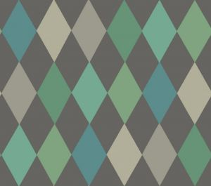 103/2007-CS PUNCHINELLO Teal On Charcoal Cole & Son Wallpaper
