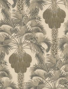 113/1003-CS HOLLYWOOD PALM Silver Charcoal Cole & Son Wallpaper