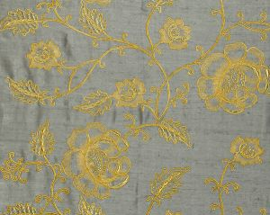 CL 000426818 FLOWDERY Gold On Grey Scalamandre Fabric