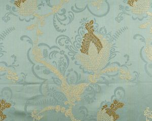 CL 000526715 VIVALDI Gold Linen On Aquamarine Scalamandre Fabric