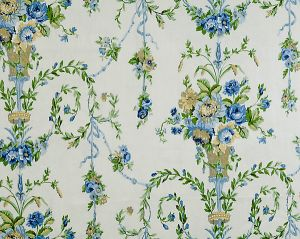 16451-001 ARABELLA Blues, Golds Greens On Ecru Scalamandre Fabric