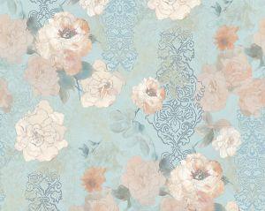 WMA MF020421 PAPER ROSE MURAL Turquoise Scalamandre Wallpaper