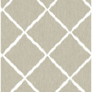 2785-24812 Ikat Trellis Linen Brewster Wallpaper