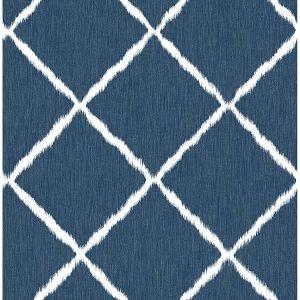 2785-24813 Ikat Trellis Indigo Brewster Wallpaper