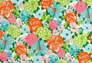 2016103-512 HERITAGE FLORAL II Aqua Orange Lee Jofa Fabric