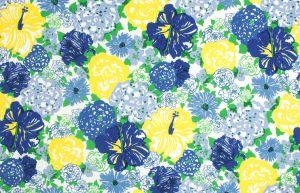 2016103-540 HERITAGE FLORAL II Blue Yellow Lee Jofa Fabric