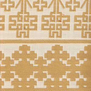 010951T ADOBE HANDSTITCH Camel Ecru Quadrille Fabric