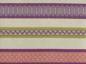 020200T BANDWIDTH Purple Shrimp Mustard Quadrille Fabric