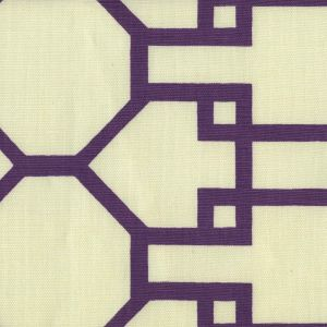 300407F BRIGHTON Purple on Tint Quadrille Fabric