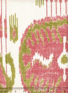 302871F BUDDAKAHN Coral Green on Oyster Quadrille Fabric
