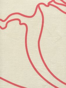 CP1060-03 CAPRI Coral on Tan Linen Quadrille Fabric