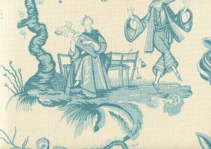 306155F DANSE CHINOIS Turquoise Dark Turquoise Quadrille Fabric
