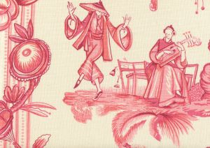 306156F DANSE CHINOIS Magenta Pink Rose Quadrille Fabric