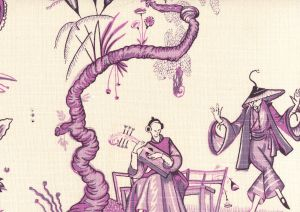 306151F DANSE CHINOIS Purple Lilac Lavender Quadrille Fabric
