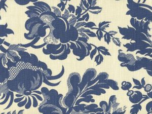 306090F DES GARDES Denim Blue on Tint  Quadrille Fabric