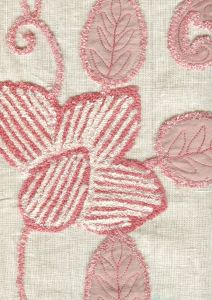 021110T-E FLOWER EMBROIDERY Rose Pink on Tan Linen Quadrille Fabric