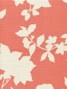 306183F HAPPY GARDEN BACKGROUND Rust Orange on Tint Quadrille Fabric