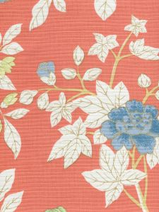 306063F HAPPY GARDEN Rust orange on White Quadrille Fabric