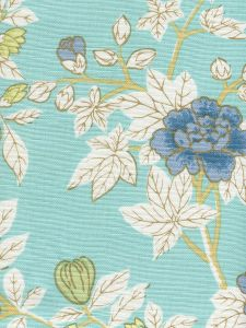 306062F HAPPY GARDEN Turquoise on White Quadrille Fabric