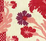 302040F-CU HENRIOT FLORAL Pinks on Ecru Quadrille Fabric