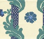 302031F-CU HENRIOT FLORAL Blues on Ecru Quadrille Fabric