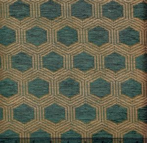 010973T HEXAGON Blue Quadrille Fabric