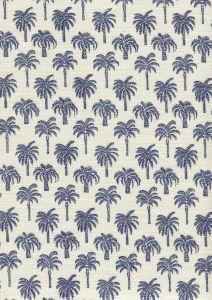 814-03 ISLAND PALM Navy Quadrille Fabric