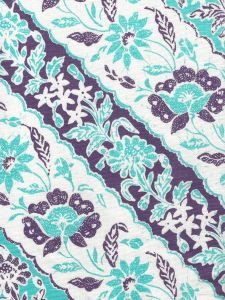 7810-04 LIM DIAGONAL Turquoise Purple on White Linen Cotton Quadrille Fabric