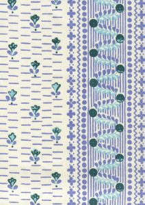 306294CT LINKS II Multi Green Lavender Periwinkle on Cotton Sateen Quadrille Fabric