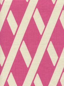 CP1050-03 MONTECITO BAMBOO Flamingo on Tan Linen Quadrille Fabric