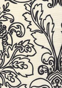 302757F MONTY OUTLINE Black on Tint Quadrille Fabric
