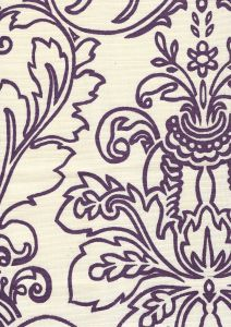 302754F MONTY OUTLINE Purple on Tint Quadrille Fabric