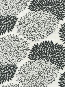 6290-12 NEW CHRYSANTHEMUM Black on White Quadrille Fabric