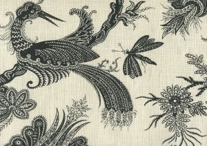 306208F PARADIS Black on Tint Quadrille Fabric