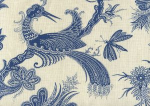 306205F PARADIS New Navy on Tint Quadrille Fabric