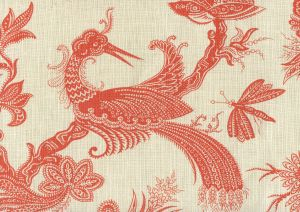 306204F PARADIS Orange on Tint Quadrille Fabric