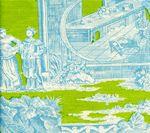 301967F PARADISE GARDEN Turquoise on Pistachio Quadrille Fabric