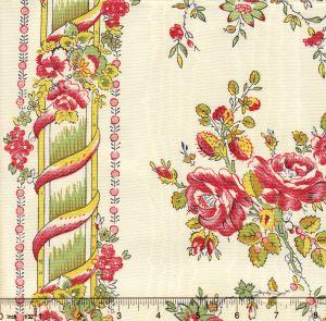 2495B-03 POPELINE RAYURE EGLANTINE Vert Quadrille Fabric