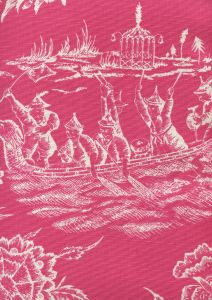 306353F ROYAL JOURNEY REVERSE II Magenta on Tint Quadrille Fabric