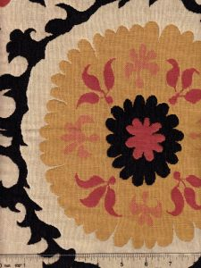 010221T SUZANI Red Black Gold on Beige Quadrille Fabric