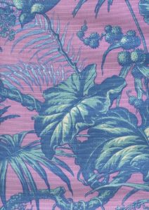 306275FLC TROPIQUE MULTI BLOTCH Multi Blues Lilac on cotton/linen Quadrille Fabric